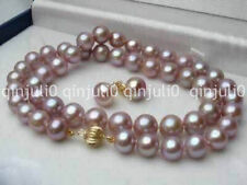 7-8MM Natural Purple Akoya Cultured Pearl Necklace 18'' + Earring Set JN1124