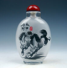 Peking Glass Inside Reverse Hand Painted LARGE Snuff Bottle *3 Horses Running*