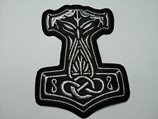 THOR HAMMER SILVER EMBROIDERED PATCH