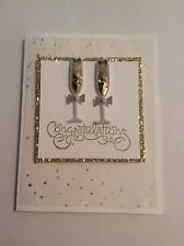 Congratulations Wedding Card  Glasses Embossed With Envelope