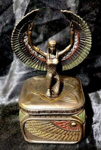 Bronze Cold Cast Coated Veronese Trinket Box  Of Egyptian Goddess Isis 11.5cm(H)