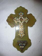 Ancien Bénitier crucifix croix onyx et émaux cloisonné XIXe