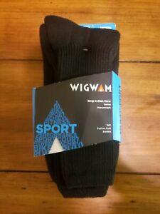Wigwam Socks Sport King Cotton Crew Black  Mens 12-15