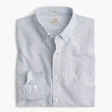 J.Crew Slim Fit Shirt Mens Striped Blue 100% American Pima Cotton Casual Oxford