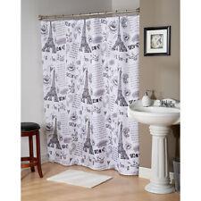 "Paris France Eiffel Tower Black/White Fabric Shower Curtain,13 Pc,70"" x 72""-New"