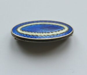 Vintage Oval Brooch - Blue Butterfly Wing (Effect) & Sterling Silver Rims & Back