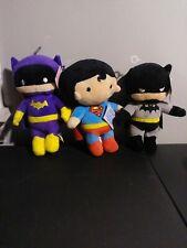 """JUSTICE LEAGUE Lot Of 3 Batgirl, Superman, Batman 7"""" Plush DC Comics New"""