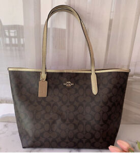 Nwt Coach City Tote In Signature Canvas Brown/Metallic Pale Gold