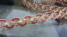 1.5cm- 1 meter Beautiful Gold and Red braid lace trimming for crafts arts decor
