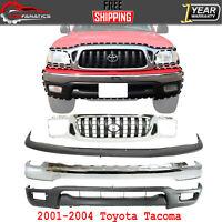 Front Bumper Chrome + Grille + Filler + Valance Primed For 2001-04 Toyota Tacoma