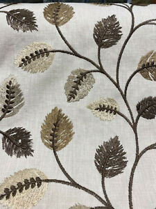 Embroidered Leaves Philippa Mocha Floral Swavelle Fabric By The Yard