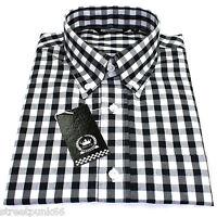 Relco Mens Black & White Checkered 9mm Short Sleeved Shirt Mod Skin Retro Indie