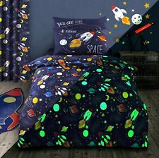 Glow In The Dark Outer Space Duvet Cover Cotton Rich Double Quilt Bedding Set