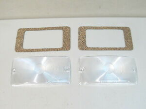 NEW 1969-1977 FORD BRONCO CLEAR PARKING LIGHT LENSES W/GASKETS (PAIR)