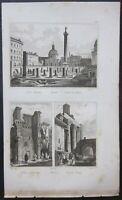 1834-37 ROMA Foro Traiano Palladium Nerva veduta Audot acquaforte su acciaio