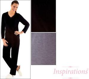 Womens Nightdress V Neck Long Sleeve Nightie Nightwear Slip On Pants Ladies Size