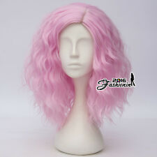 35CM Lolita Short Light Pink Curly Party Fluffy Cosplay Heat Resistant Wig+Cap