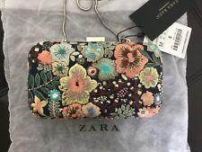 NEW Zara Basic Collection Embroidery Embellished Box Clutch Handbag