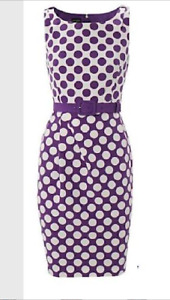 BNWT Hobbs Rizzo Fitted Belted Pencil Dress Size Purple Size 10 £159 EU 38
