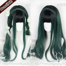 Gothic Harajuku Sweet Lolita Cosplay Black+Green Gradient Wig Daily Curly Hair #