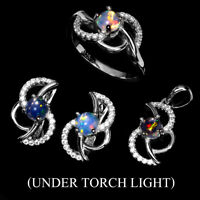 Unheated Fire Opal Round 5mm White Cz 925 Sterling Silver Ring Pendant Earrings