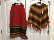 Womens Filra's Unique Red Orange Yellow Green Knit Skirt & Poncho Shaw New