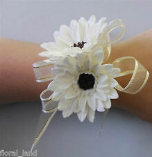 Latex Real Touch Wedding Flowers Cream White Gerbera Wrist Corsage Formal Silk