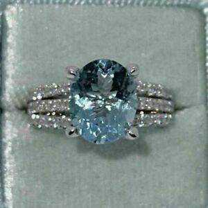 2.90Ct Oval Cut Aquamarine Diamond Solitaire Engagement Ring 14K White Gold Over