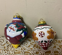 2 Ceramic Christmas Tree Ball Ornaments Santa Gingerbread