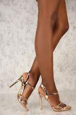 Metallic Strap Clear Rhinestone Stiletto High Heels Platform Pumps Sandals H83