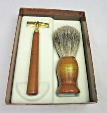 Vintage Rein Dachs Natural Bristle Wood Shaving Brush Razor Set Orig Box Germany
