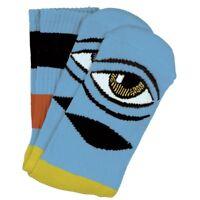 Toy Machine Socks Sect Eye Big Stripe Baby Blue OSFM New Skateboard Sox
