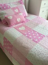 Lucy Girls Cotton Pink Patchwork Single Bed Quilt Bedspread Coverlet Set