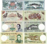 BHUTAN SET 4 Pcs 1, 5, 10, 20  NGULTRUM 2011/2013 UNC