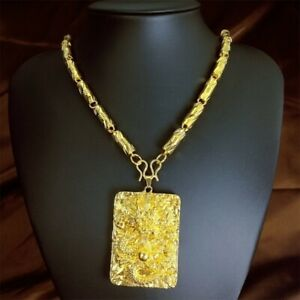 Men Women 18k Yellow gold vacuum plating The Dragon Pendant Chain Necklace N420