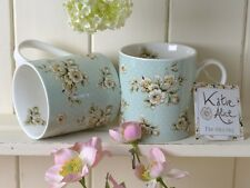 Set of 2 KATIE ALICE Cottage Flower GREEN FLORAL Shabby Chic MUGS Vintage Style