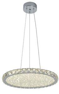 LED Crystal Pendant Light, 24 Watts Chrome Finish Warm White (3000K), RRP: £132