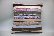 "Striped  Hemp Square Pillow, 20""x20"", Decorative Throw Cushion,  Vintage Pillow,"