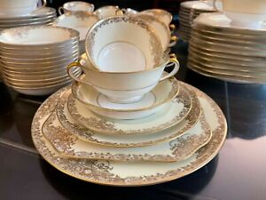 Vintage Noritake Hand Painted 1930s Goldcella 7267 Fine China Dinnerware Set 93
