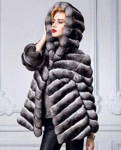 Chinchilla fur coat  Hooded