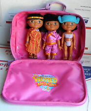 Lot Of (3)DORA'S World Adventures Dolls/Toys In Carrying Travel Case Gently USED