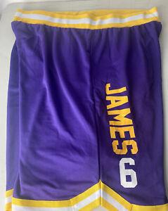 Los Angeles Lakers Lebron James Shorts Basketball #6 Logo Spellout Patch Sz XXL