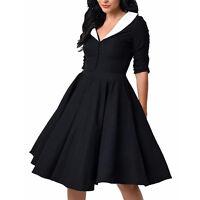 Women Rockabilly Pin Up Vintage 50's Evening Party Prom Swing Plain Retro Dress