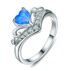 Women'S Blue Heart Shaped simulated Opal Wedding Ring Silver Jewelry Size 7#