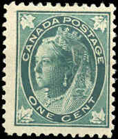 1897 Mint H Canada F+ Scott #67 1c Maple Leaf Issue Stamp