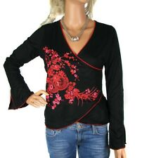 V Neck Long Sleeve Floral Wrap Tops for Women