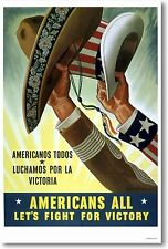 Americans All - Let's Fight For Victory  NEW Vintage Hispanic Spanish Art POSTER