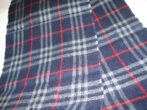 Burberry, Burberrys of London, Vintage, Lambswool Scarf, Navy/Red Nova Check