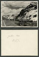 or. Foto Autos VW Käfer Alpen Reise Julier-Pass Steine Panzersperre Schweiz 1955