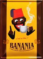 PLAQUE METAL rétro vintage CHOCOLAT BANANIA  c'est si bon - 40 X 30 CM